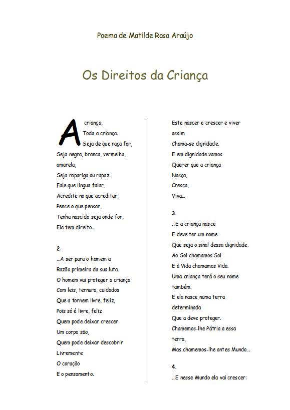 Poema de Matilde Rosa Araújo - Os Direitos da Criança (1/3)