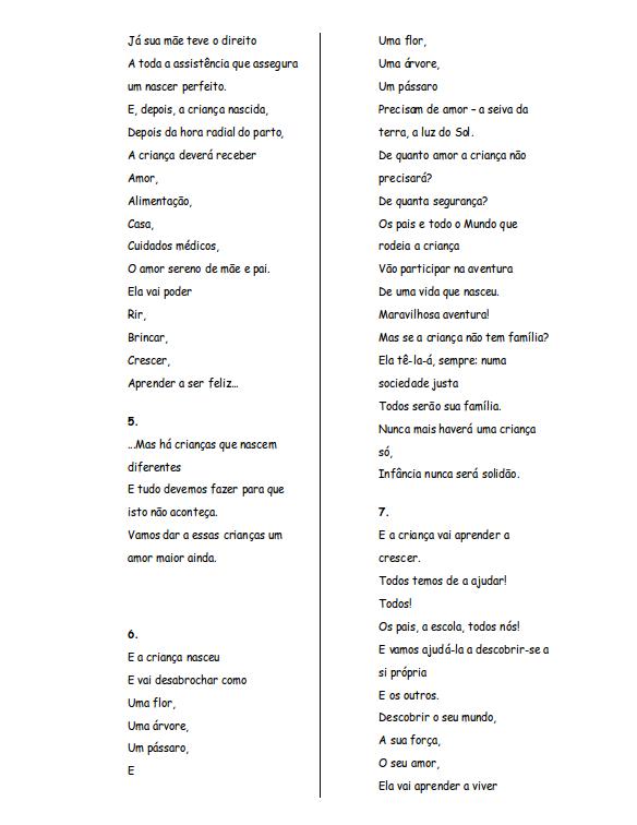 Poema de Matilde Rosa Araújo - Os Direitos da Criança (2/3)