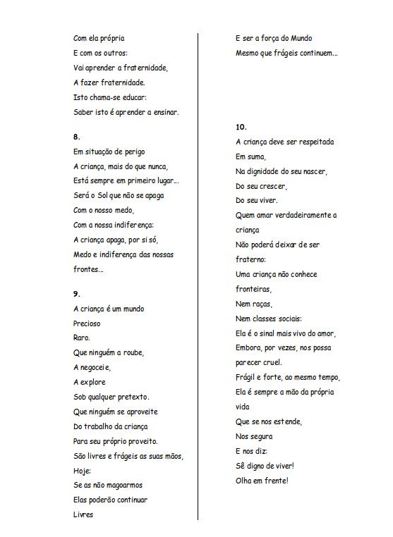 Poema de Matilde Rosa Araújo - Os Direitos da Criança (3/3)