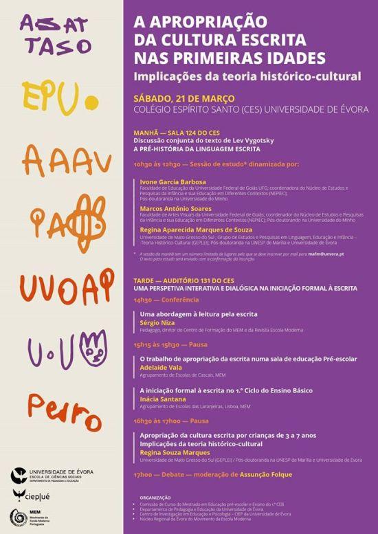 ENCONTRO Apropriação da cultura escrita - dia 21 mar 2015 - Evora PT