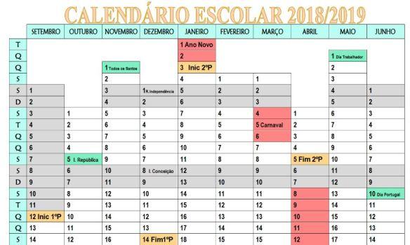 Calendario 2020 Portugal Excel.Calendario Escolar 2018 2019 Para Edicao E Impressao